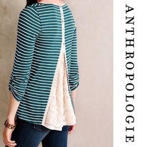 Anthropologie striped Lace Detail Blouse SZ. M